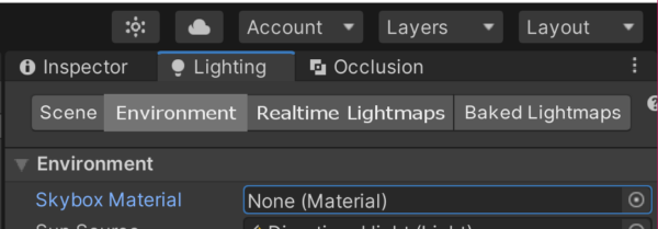 Unity lighting Environment Skybox None