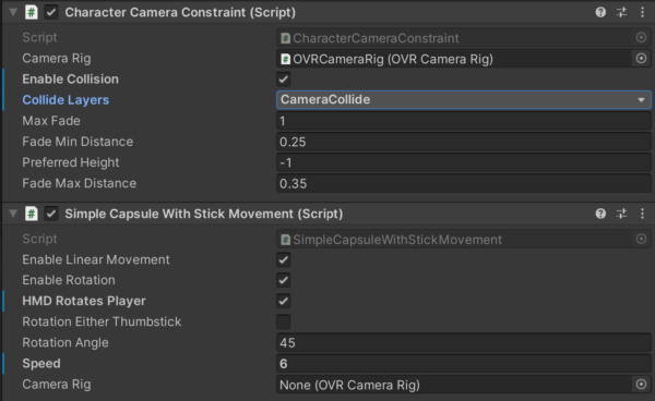 Player Controller Script Components Oculus Integration